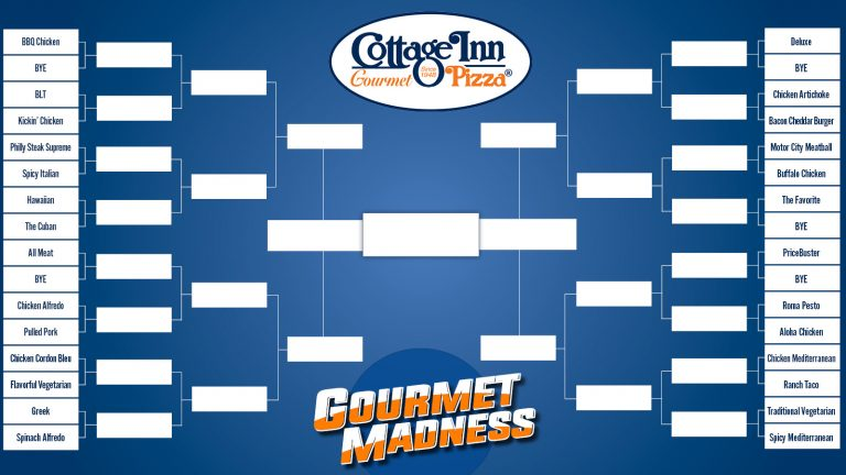 Fill out our GOURMET MADNESS BRACKET for a chance to WIN PIZZA for a year!