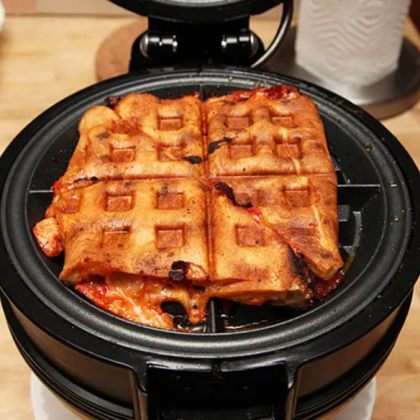 Leftover Pizza in Waffle Iron